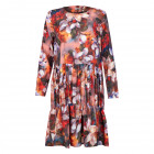 Female luxurious dress WOW 3D flowered brown midi