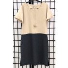 Female stylish linen/viscose dress DUAL sand dark grey with short sleeves