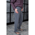 Female stylish pants with belt and the ribbon at the bottom, grey