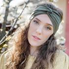 Stylish woman headband KNOT, chaki