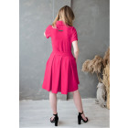 Woman fit and flare dress with collar, strap and hidden zipper at the front LIMA Fit, bright pink
