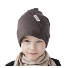 Kids thin stretchy cotton beanie UPSIDEDOWN - mocha