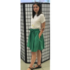 Impressive female linen/viscose green skirt TAHO