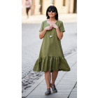 Impressive linen/viscose female dress LISABONA Pistachio