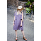 Impressive soften linen female dress SANTORINI ash rose