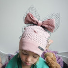 Extremely stylish girl beanie FASHIONISTA powder with a black tulle