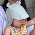 Summer kids beanie with visor, laces and neck protection (100% cotton) - baby blue