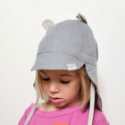BEAR summer kids beanie with visor, laces and neck protection (softened linen) - baby blue