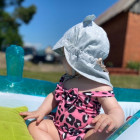 Summer kids beanie with visor, laces and neck protection (100% cotton) - Grey flower