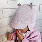 Summer kids beanie with visor, laces and neck protection (softened linen) - pink