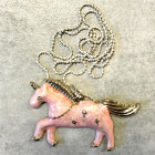 Kid's metal pendant Unicorn with an aged luxury-looking chain, pink
