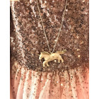 Kid's metal pendant Unicorn with an aged luxury-looking chain, white