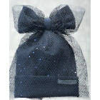 Extremely stylish girl beanie with a tulle FASHIONISTA sparkle grey black