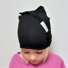 Kids thin stretchy cotton beanie UPSIDEDOWN - charcoal, black