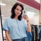 Female stylish viscose blouse TAHO with stylish strip in the front, bluish