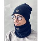 Man fall beanie hat  - Dark blue