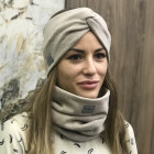 Stylish woman headband for spring autumn or winter, Latte