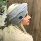 Woman headband KNOT of elastic knitted fabric for spring / autumn / winter, Grey