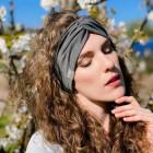 Stylish woman headband KNOT, grey dandelion