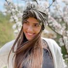 Summer thin beanie turban KNOT - Chaki