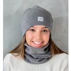 Stylish woman snood scarf for spring fall or winter - Dark grey