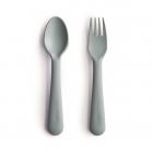 Mushie Kids Fork & Spoon Set, Sage