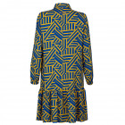 Impressive patterned female dress with strap BARCELONA yellow/blue