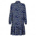 Impressive patterned female dress with strap BARCELONA blue/white