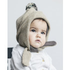 POMPOM winter double layered wool beanie sand