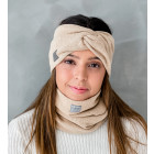 Woman headband KNOT of elastic knitted fabric for spring / autumn / winter, Camel