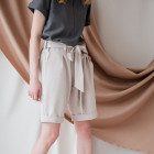 Female stylish shorts with belt TAHO, sand