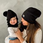 Stylish fall winter mohera wool kids HELMET with pompom BLACK