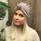 Summer thin beanie turban KNOT - Grey dandelion