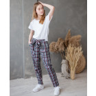 Womans stylish pants with a strap, with boxes