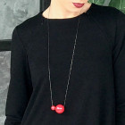 Female stylish elegant ceramic pendant on a luxurious chain MADEIRA red