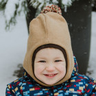 Stylish fall winter alpaca wool kids HELMET Sand with POMPOM