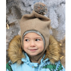 Stylish fall winter egyptian wool kids HELMET with pompom SAND