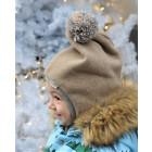 Stylish fall winter egyptian wool kids HELMET with pompom SAND