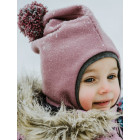 Stylish fall winter mohera kids HELMET with pompom ASH ROSE