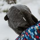 Stylish fall winter egyptian wool kids HELMET with ears DARK GREY