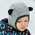 Stylish fall winter wool kids HELMET with ears LIGHT GREY