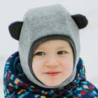 Stylish fall winter wool kids HELMET with ears LIGHT GREY