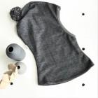 Stylish fall winter wool kids HELMET with pompom DARK GREY