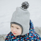 Stylish fall winter egyptian wool kids HELMET with pompom LIGHT GREY