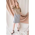 Female stylish linen/viscose dress DUAL sand/grey with short sleeves