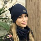 Woman fall winter beanie hat - Dark blue
