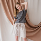 Female stylish linen/viscose blouse TAHO with short sleeves and hidden zipper in the front, anthracite
