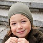 Kids thin stretchy cotton beanie UPSIDEDOWN - chaki