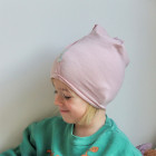 Kids thin stretchy cotton beanie UPSIDEDOWN - blush powder