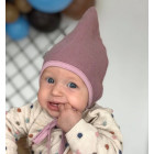 Kids mohera wool beanie with straps for autumnwinter DROP ash rose